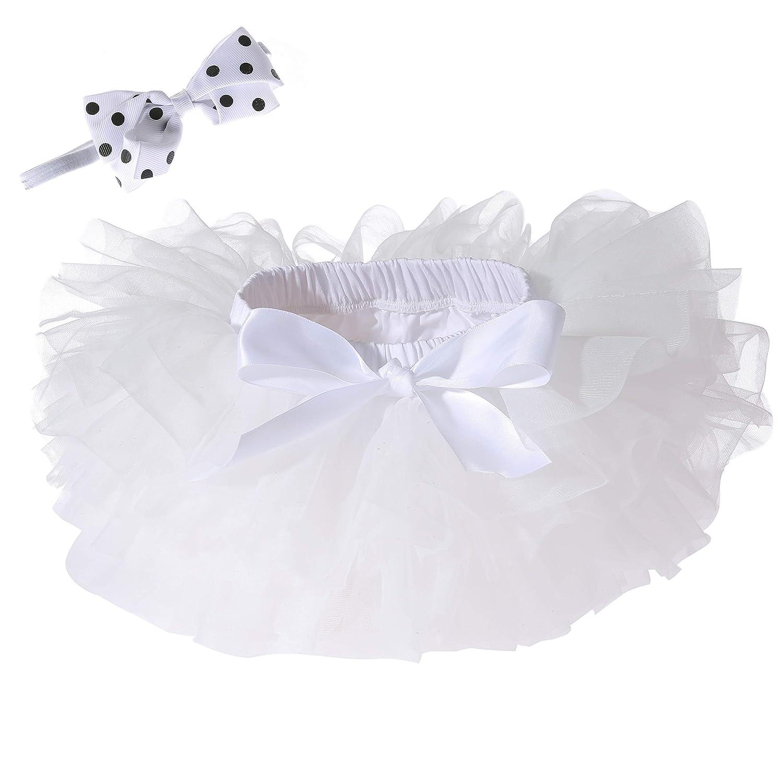 Baby Girls Tutu Skirt Headband Set Newborn Toddler Ruffle Tulle Diaper Covers 6-24 Months