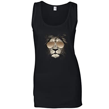 4b337610 Amazon.com: Stylish Animal Womens Vest Lion Wearing Aviator ...