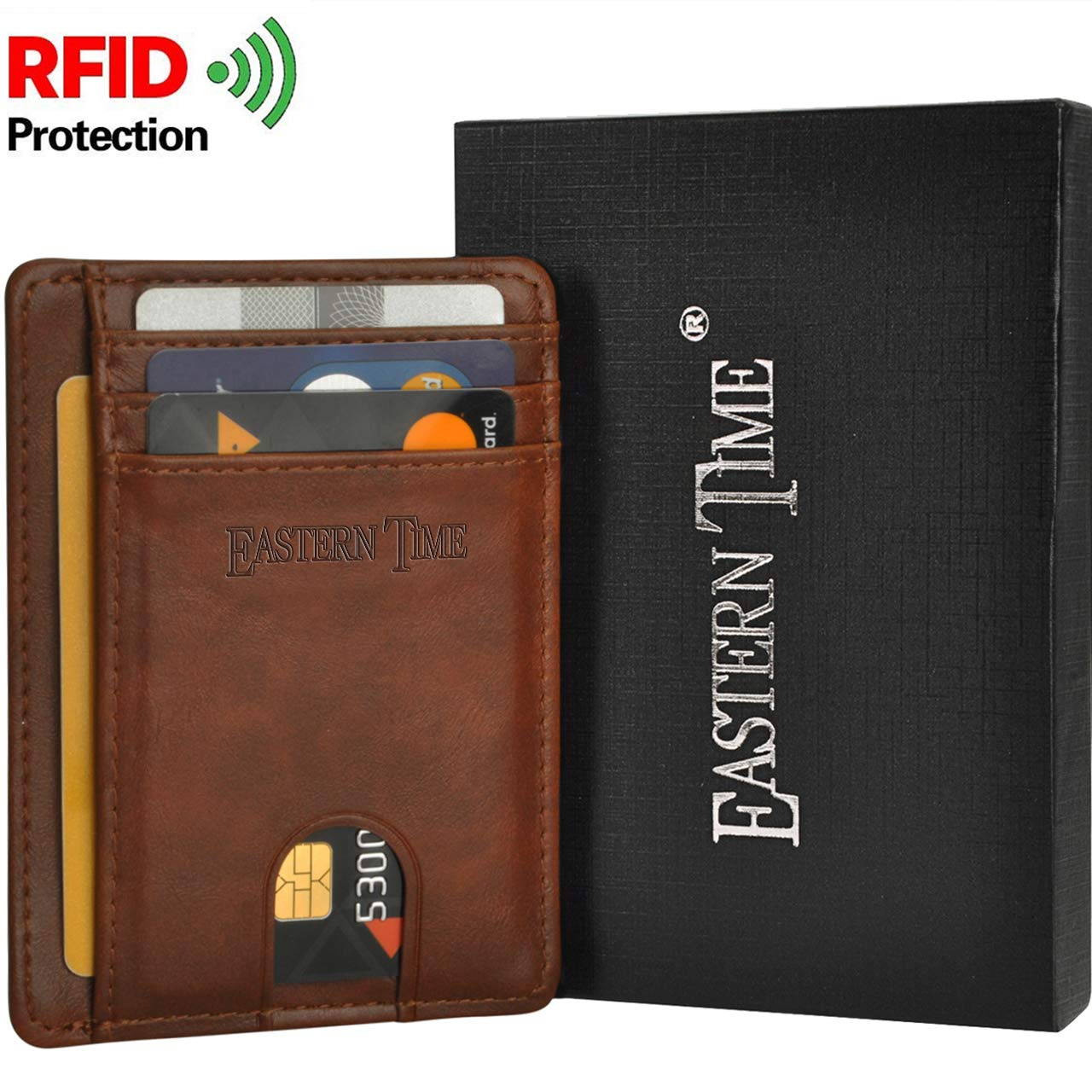 RFID-Wallets-for-Men-Front Pocket Minimalist Thin Wallet Clear ID Window Card Holder for Women(Brown)