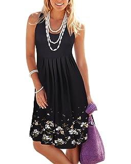 e6ea01edbe1 JOSIFER Womens Cute Casual Summer Aline Dresses Tshirt Swing Beach ...