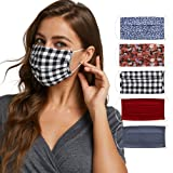Fashion Washable Reusable Pleated Printed & Solids Mask Set of Five/3 prints & 2 solids/F