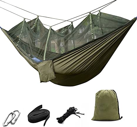 upgraded 2-in-1 survival bearing 661 pounds flip-type light portable hammock suitable for camping camping for trees small objects blocking mesh travel backpacking Outdoor camping hammock etc