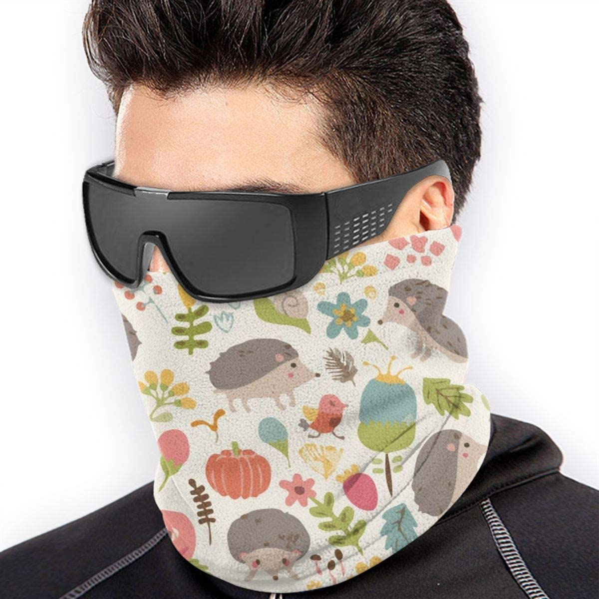 Microfiber Neck Warmer Funny Hedgehog in Bush Neck Gaiter Tube Ear Warmer Headband Scarf Face Mask Balaclava Black