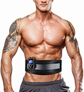 DOMAS Ab Belt Abdominal Muscle Toner- Abs Stimulator with 8 Modes Electronic Abs Stimulating Belt EMS Muscle Toning Belt for Men Women Training Device for Muscles Stomach Workout Massager