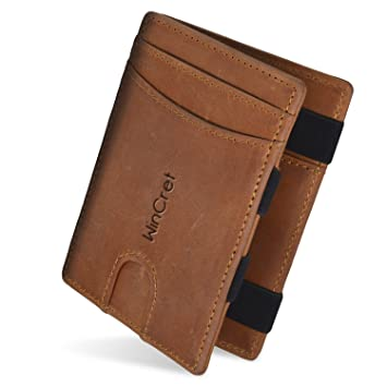 1bee94ca88b8f WinCret Geldbeutel Männer Slim Magic Wallet - Leder Klein Geldbörse Herren  mit Reißverschluss-Münzfach -