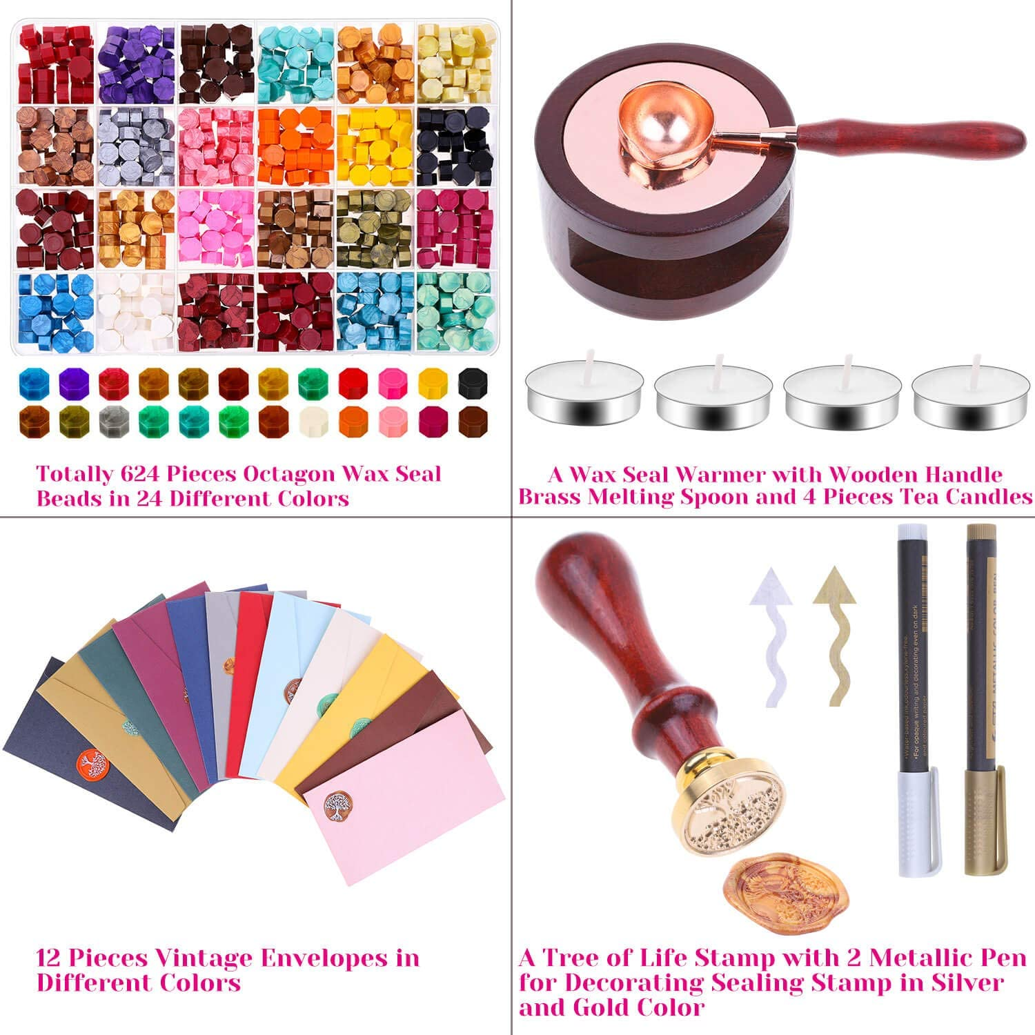 Sealing Wax Warmer Crafts and Decoration Anezus 645pcs Wax Letter Seal Kit with Wax Seal Beads Vintage Envelopes Sealing Wax Sealing Envelopes Wax Stamp and Metallic Pen for Wax Seal