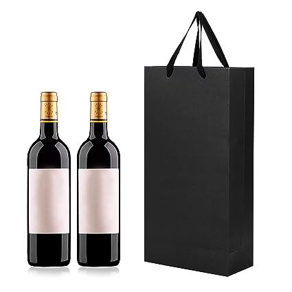 Lote de 10 bolsas de vino de papel kraft con asas sólidas y ...