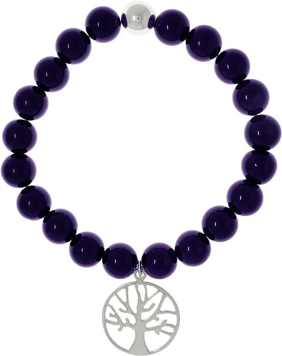 Sterling Silver Bracelet Swirly Tree of Life Charm Amethyst Bracelet