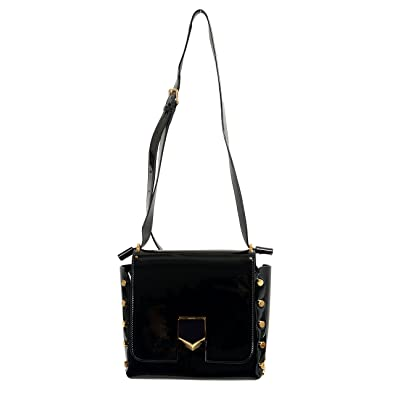 Image Unavailable. Image not available for. Color  Jimmy Choo Leather Black  Lacquer Adjustable Strap Women s Crossbody Shoulder Bag bd15bd269a6e5