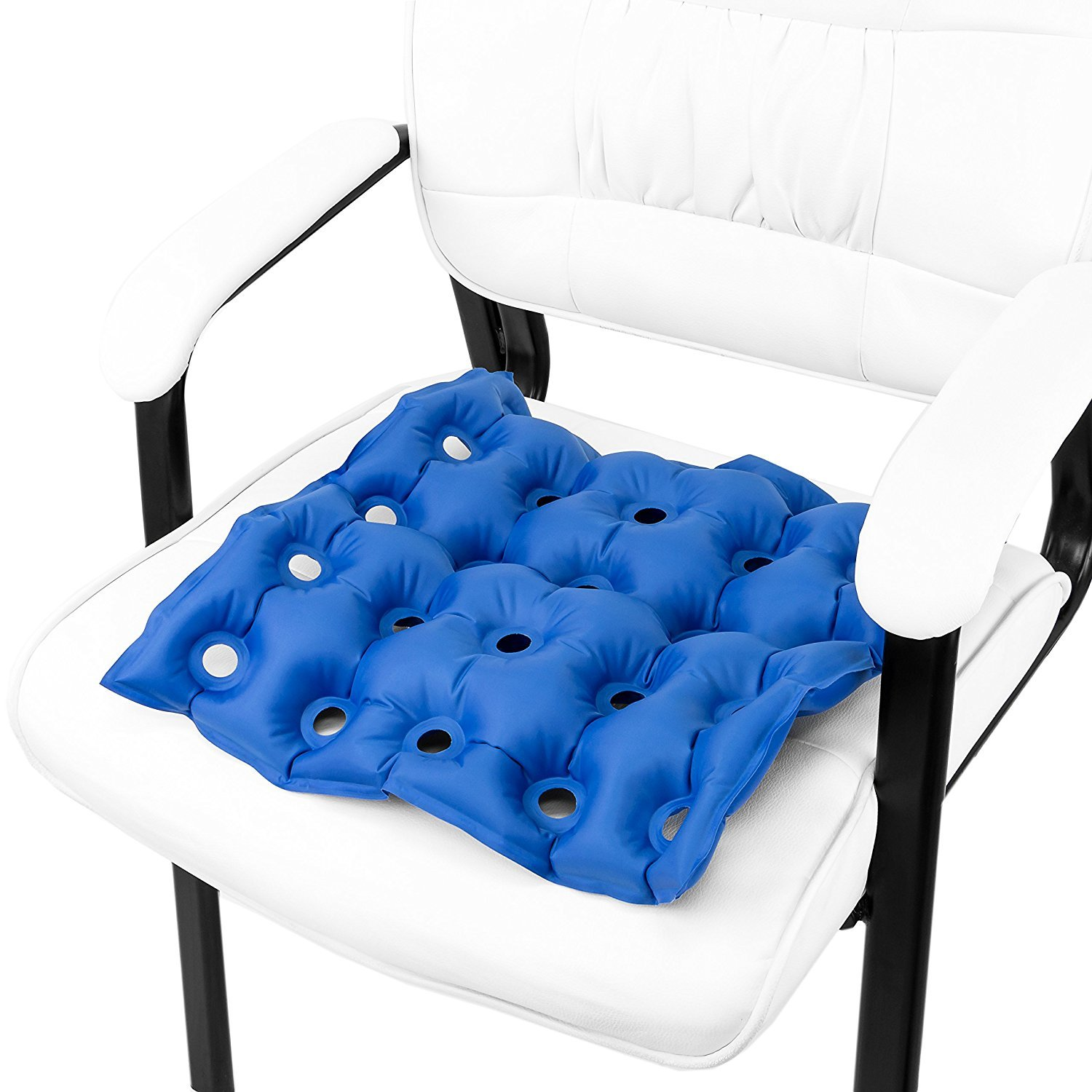 Premium Air Inflatable Seat Cushion 17 X 17 Heat Sealed Construction for Durabilityd Cushion for Wheel Chair and Day to Day Use  Ideal for Prolonged Sitting FDA Approved Blue by EMS Extend Medical Supply