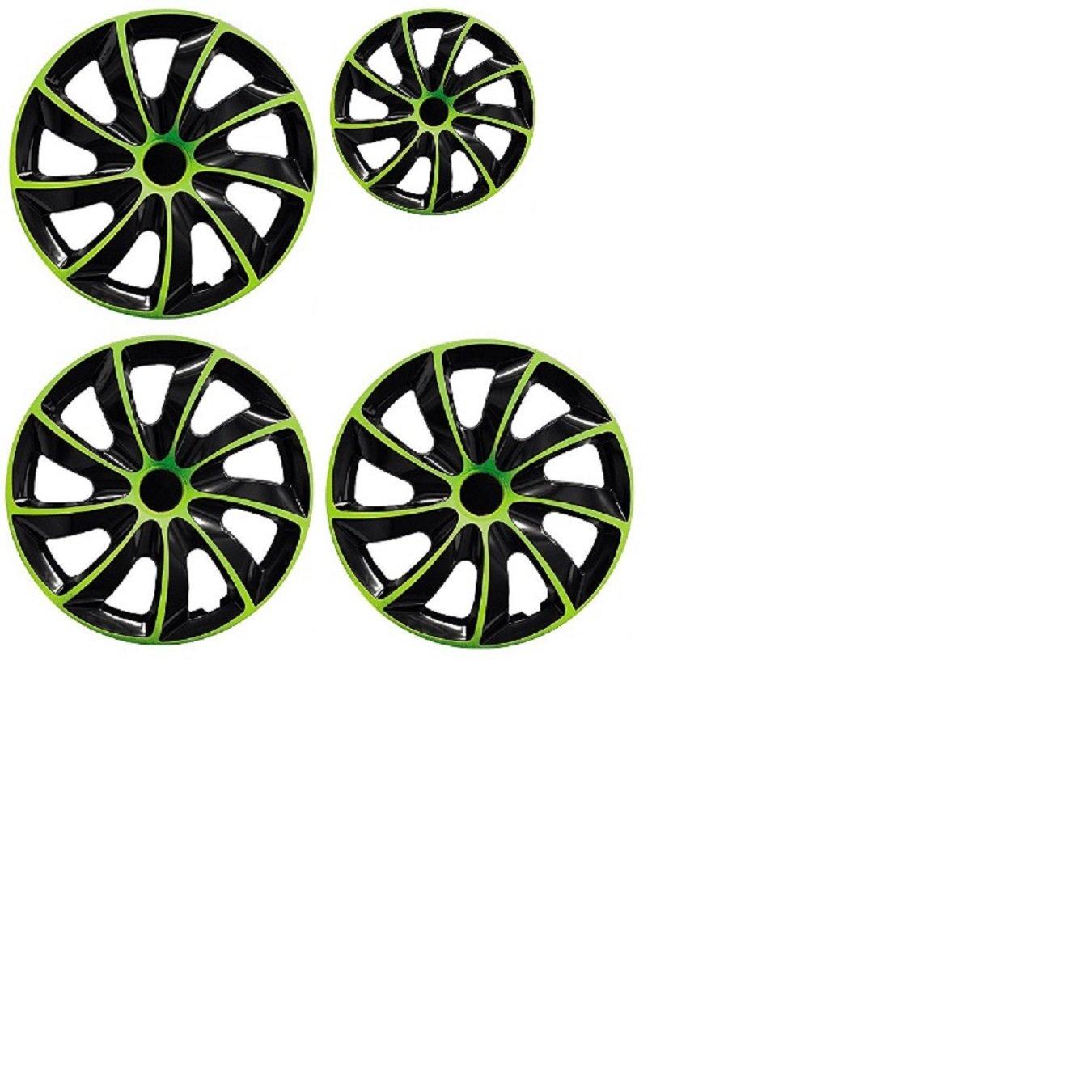 PARA Alfa 15 pulgadas tapacubos/Tapacubos QUAD verde 15 negro black verde: Amazon.es: Coche y moto