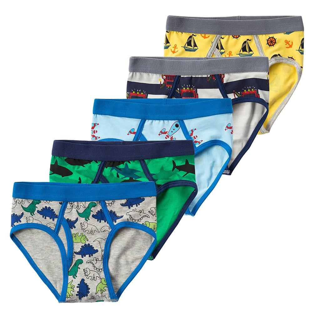 B.GKAKA Little Boys  Toddler Underwear Boys Dinosaur 5-Pack Briefs Size 2/3T Multi-colors/Dinosaur/Space/Sailboat/Shark XXS 2T/3T