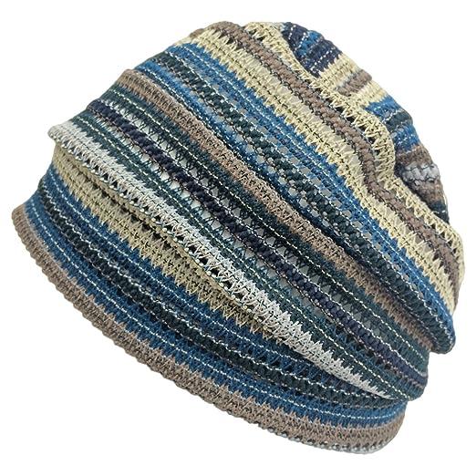 368938e9581 Charm Men Summer Beanie Knit - Women Hipster Slouchy Hat Boho Street  Fashion Cap Blue