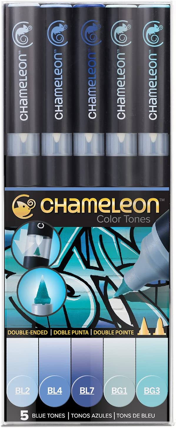 Chameleon Art Products, Blending Markers, Blends Multiple Tones, Blue Tones - 1 Pack of 5