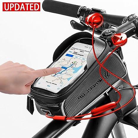 Oulakary - Funda Impermeable para Cuadro de Bicicleta con Orificio para Auriculares, para Smartphone de 6 Pulgadas, para MTB, Bicicleta de montaña, Bicicleta de Carreras: Amazon.es: Deportes y aire libre