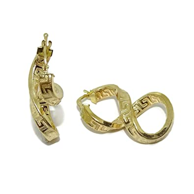 62eeb7075581 Pendientes aros de oro amarillo de 18k con greca y forma de infinito.  2.90cm de largo. 4mm de grosor. Cierre fácil click  Amazon.es  Joyería