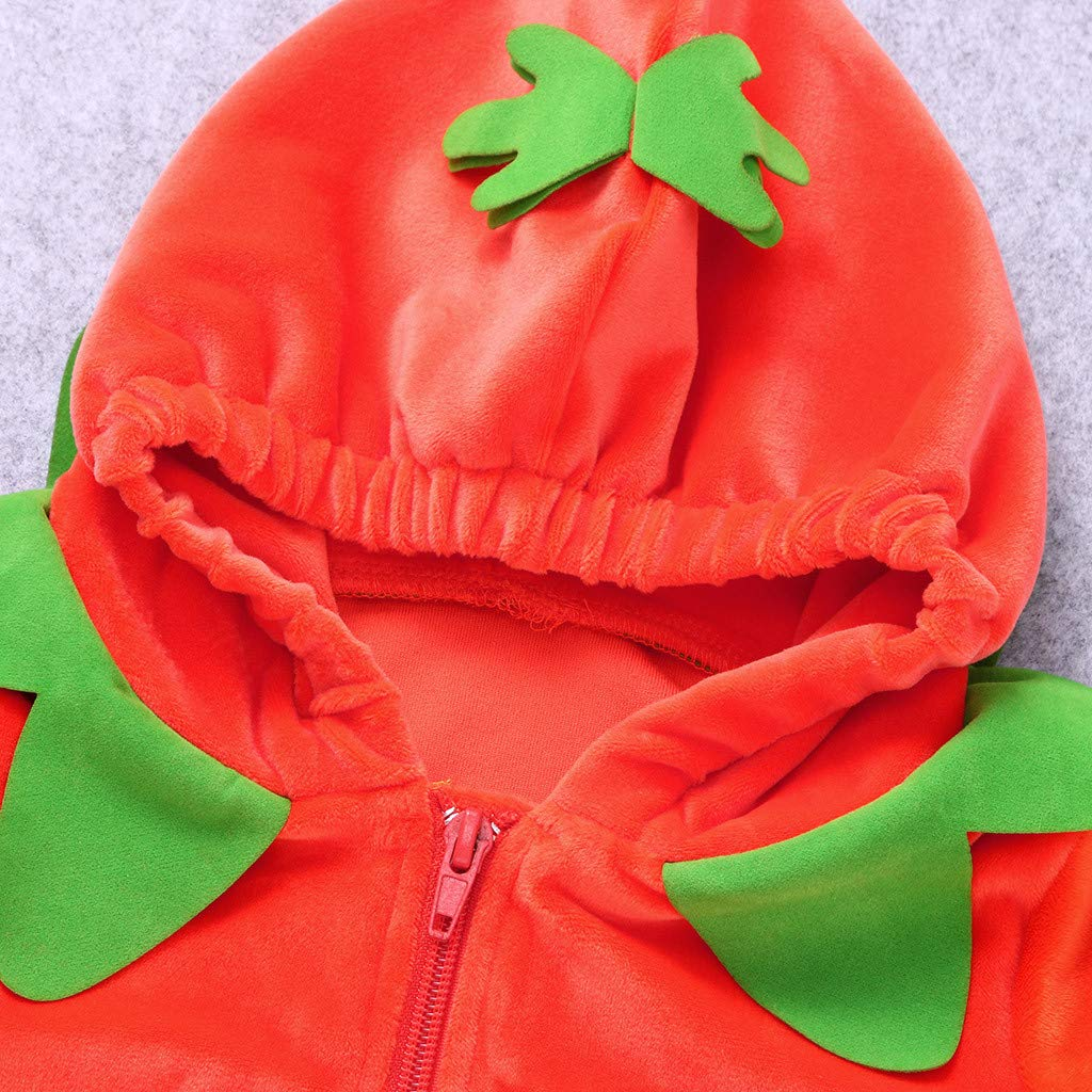 Baby Boys Pumpkin Halloween Costume Hooded Romper,Newborn Bodysuit Toddler Onepiece Jumpsuit Costume Outfits Infant Pajamas Sleepwear