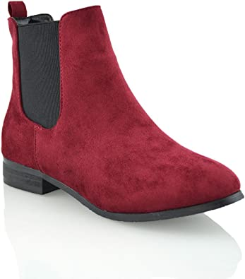 Women/'s Chelsea Slip On Ankle Boots Pumps Ladies Shoes Block Low Heels Booties