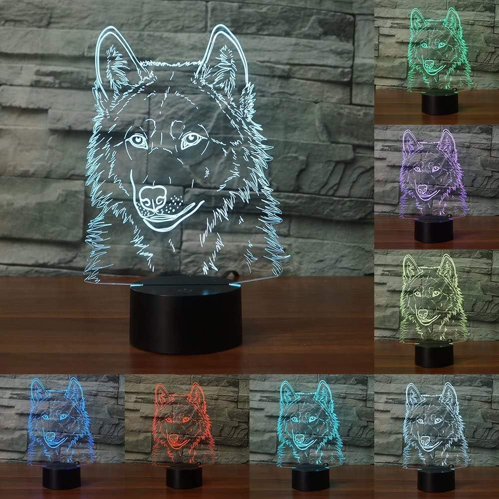 Lampara 3d led forma de lobo siete colores