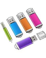 KEXIN Lot de 5 Clés USB 2.0 16Go à Capuchon Pendrive Clef USB 16 Go USB Externe Mémoire de Stockage USB Memory Stick U Disque Flash Drive pour PC Ordinateur Portable (Bleu Vert Violet Rose Orange)