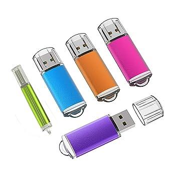 KEXIN 8GB Memoria USB 2.0, 5 Piezas Pendrive 8GB Flash USB 2.0 para Computadoras, Tabletas y Otros Dispositivos [5 Unidades, Color de Naranja, Rojo, ...