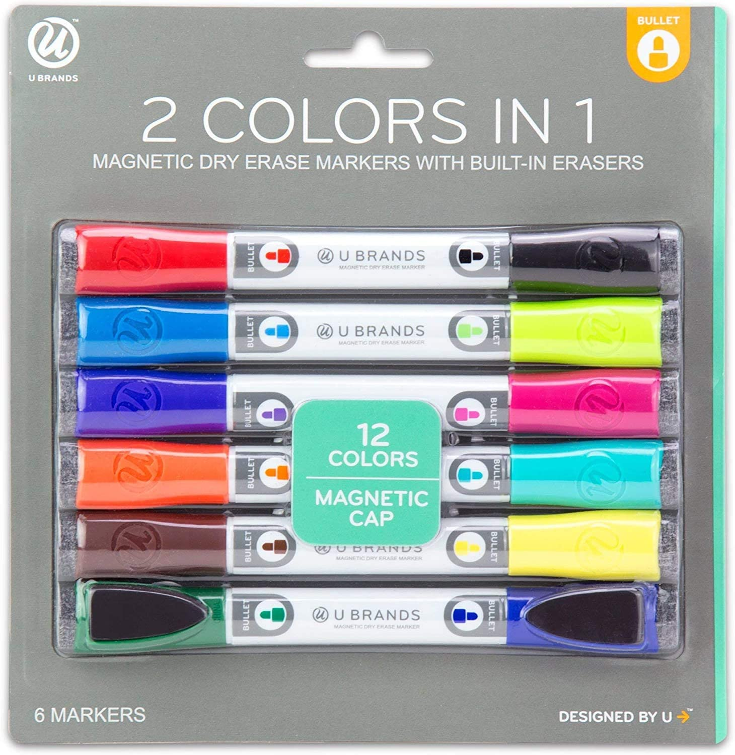 One Size U Brands Low Odor Magnetic Double Ended Dry Erase Markers With Erasers