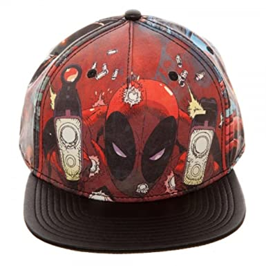 c57599b138c0f Image Unavailable. Image not available for. Color  Marvel Comics Deadpool  Sublimated PU Faux Leather Snapback
