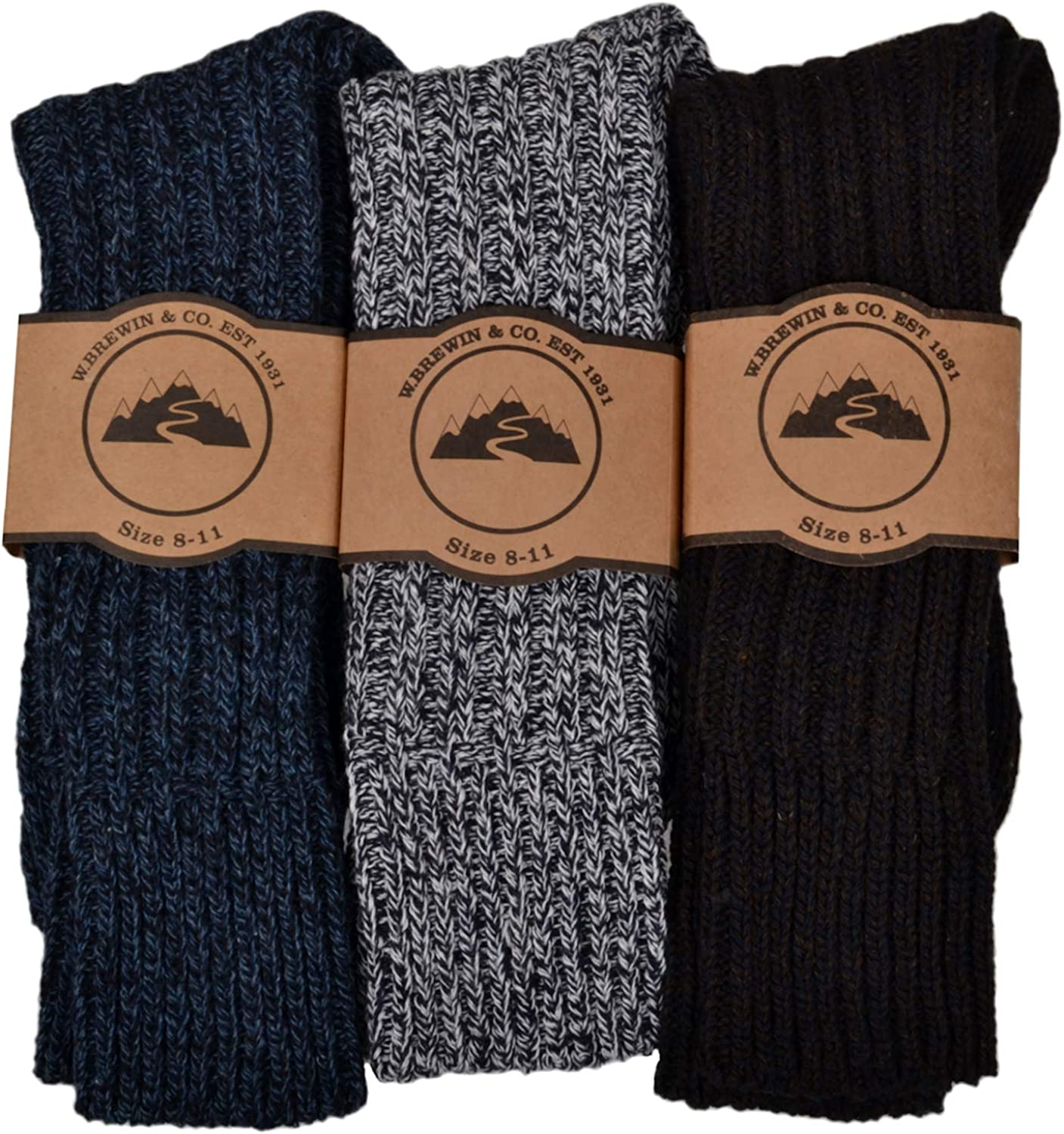 Wool Blend 3 Pairs of Mens Thick /& Warm Heavyweight Socks