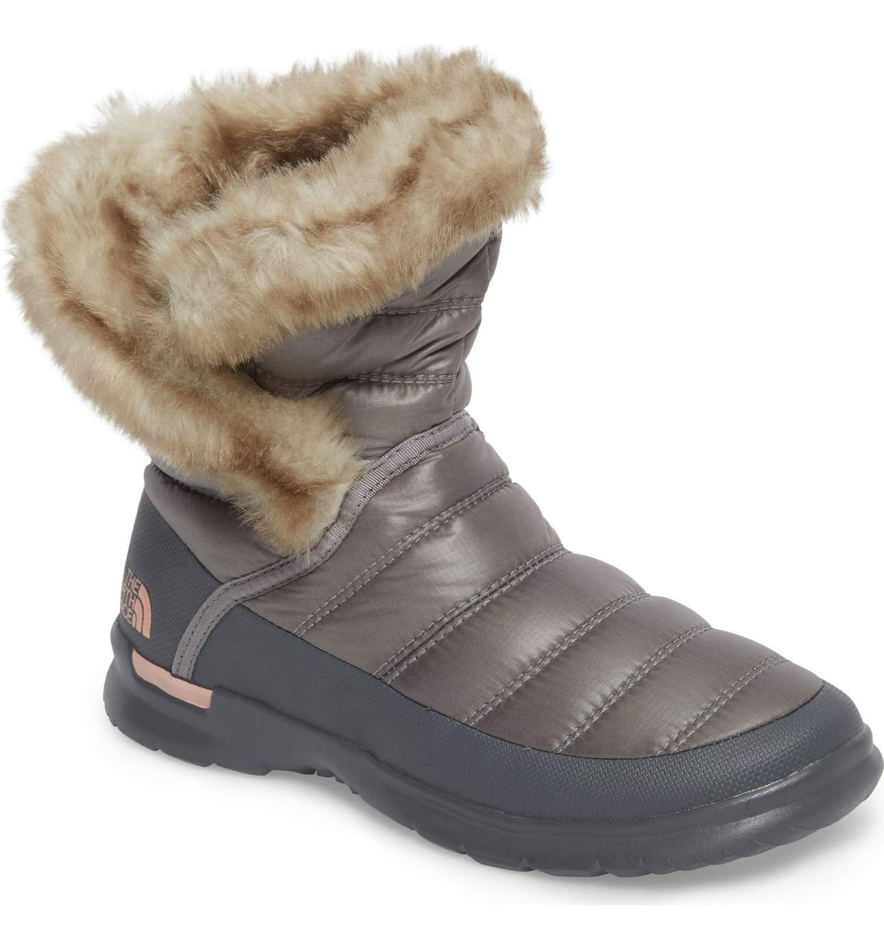 The North Face Womens Thermoball Microbaffle Bootie II B01NCNBCGJ 7 B(M) US|Shiny Frost Grey/Evening Sand Pink (Past Season)