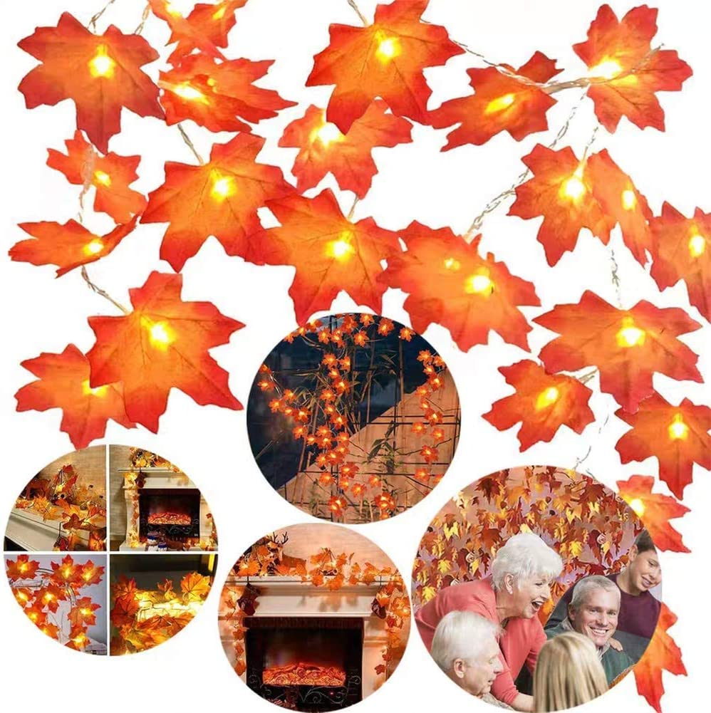 Twinkle Star Thanksgiving Decoration Lighted Fall Garland, 20 LED 11 FT Maple Leaves String Lights Battery Operated, Thanksgiving Decor Fall Decorations for Home Indoor,Outdoor Halloween