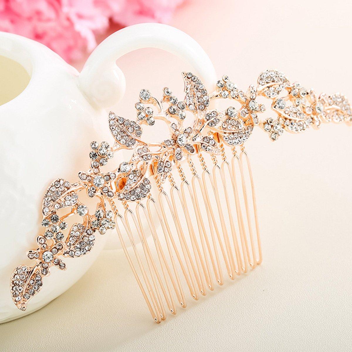 Silber Braut Hochzeit Silber Kristall Strass Perlen Frauen Haar Kamm