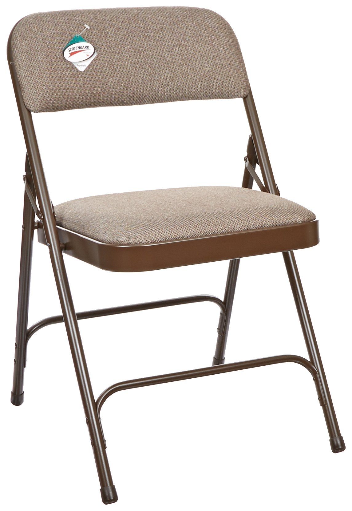 National Public Seating 2200 Series Steel Frame Upholstered Premium Fabric Seat and Back Folding Chair with Double Brace, 480 lbs Capacity, Russet Walnut/Brown (Carton of 4) by NPS
