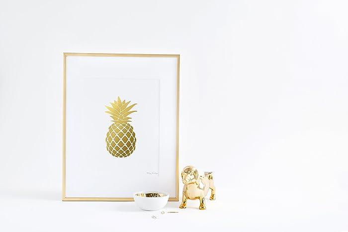 Pineapple Print Gold Wall Art Decor Golden