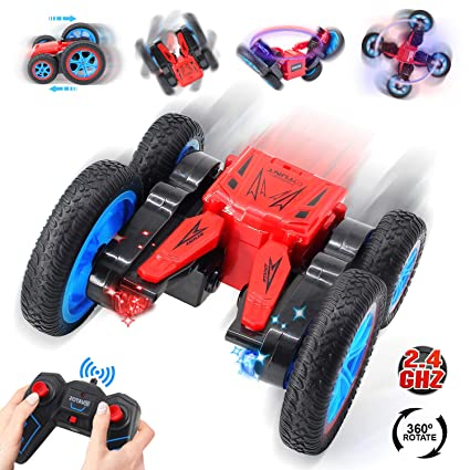 VATOS RC Stunt Car Remote Control Car 4WD Off Road RC Flip Car, 360° Spins  & Flips 180° Swing with Led Lights 2 4Ghz Double Sided Rotating Tumbling 3D