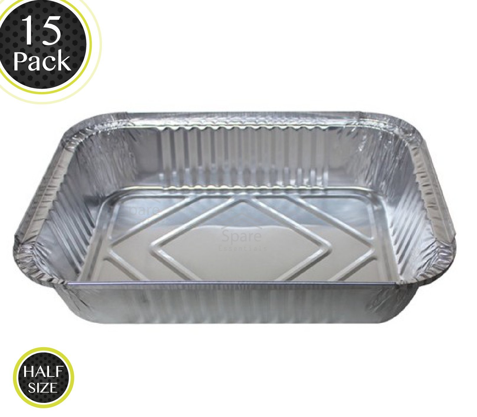 15 Pack - Durable Chafing Pans, Half Size Roasting Pans - Disposable Aluminum Foil Steam Table Deep Pans, Buffet Pans Size - 10'' x 13'' by Spare Essentials