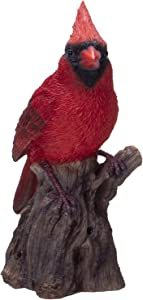 Pacific Giftware Cardinal Perching on Branch with Motion Activated Bird Sound Collectible Figurine