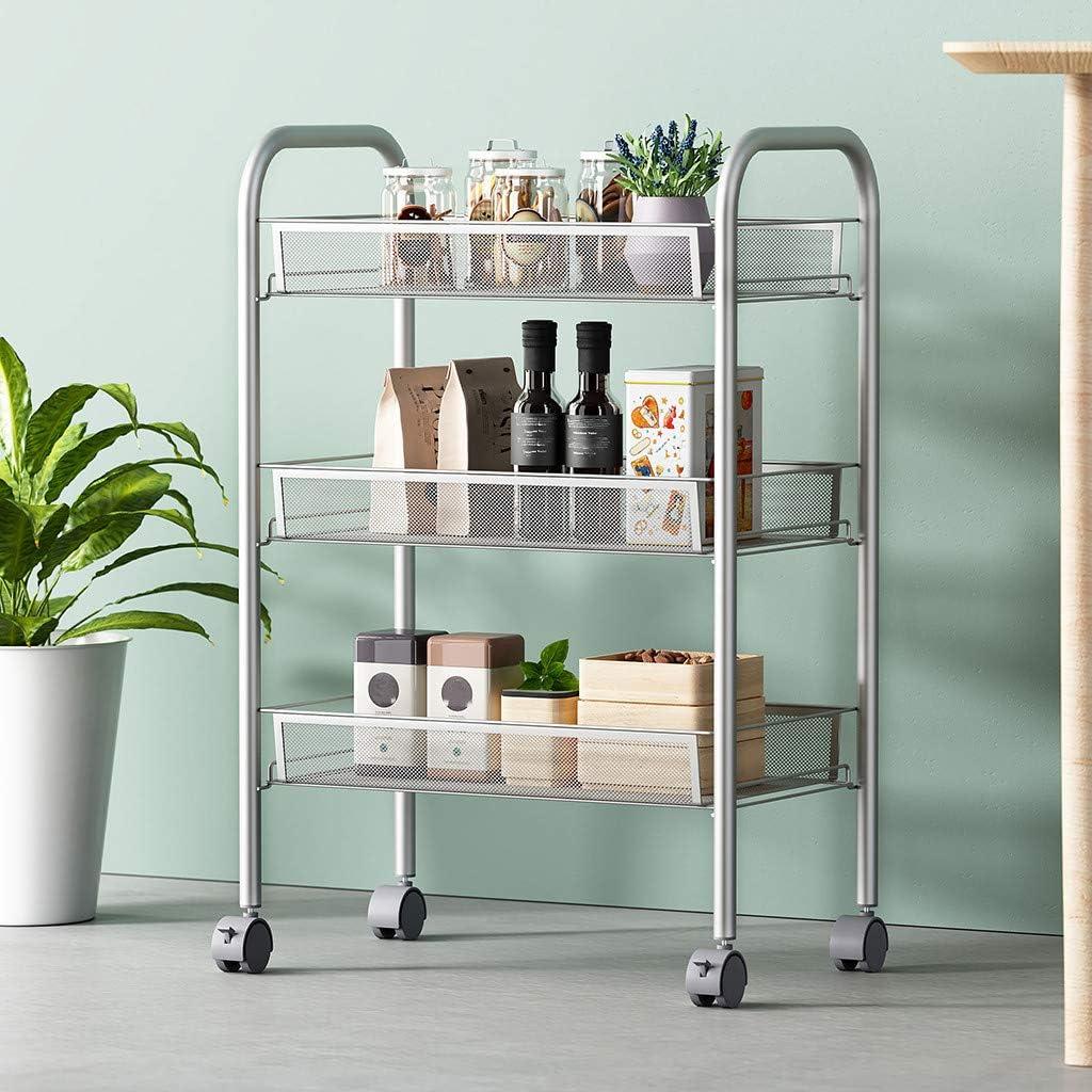 3-Tier Mesh Wire Basket Rolling Cart Kitchen Storage Cart With Wheels Shelving Heavy-Duty Metal Mesh Basket Shelves – Narrow Shelf – Durable Steel Frame Silver