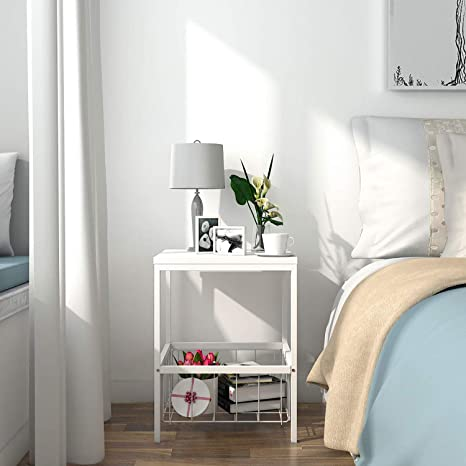 Smalle Sidetable 20 Cm.Lifewit Small Bed Side Table Nightstand With Metallic Storage Basket Livingroom Side Table End Table Sturdy And Easy Assembly White 15 7 15 7