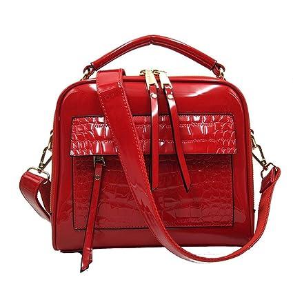 ae67220f15 Amazon.com  Bag Brand Women Handbags Genuine Leather Fashion Shopper Tote  Bag Female Luxury Shoulder Bags Handbag Bolsa Feminina (Red color)   Everything ...