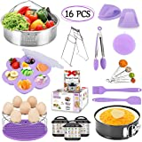 Instant Pot Accessories Set Compatible with 6,8 Qt, 16 PCS Pressure Cooker Accessories, Steamer Baskets, Egg Bites Mold, Egg Steamer Rack, Measuring Spoons Pot Holders Basting Brush (Purple)