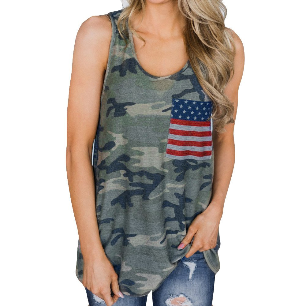 Driuankeji Women's Fashion Camouflage Vest Tops Ladies American Flag Sleeveless T-Shirt Blouse