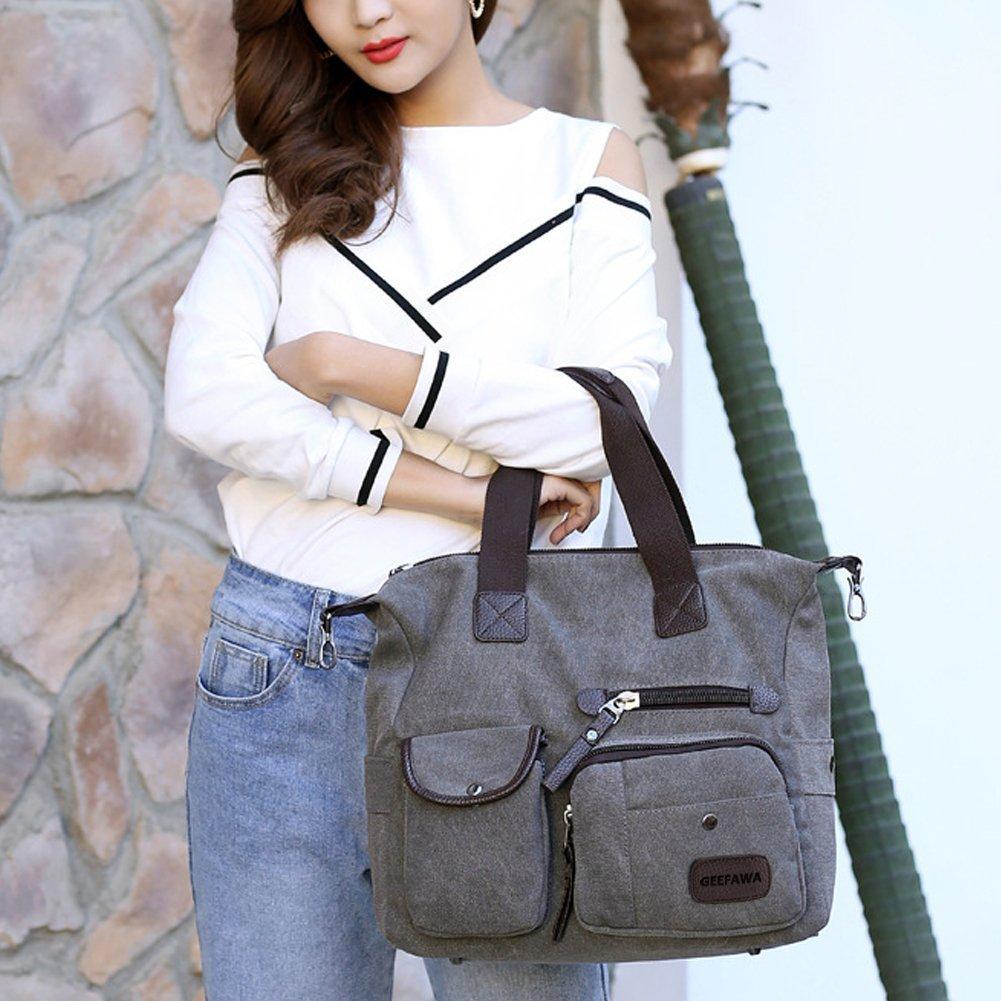 Women's Canvas Tote Bag Top Handle Bags Shoulder Handbag Tote Shopper Handbag crossbody bags (Gray) by Greatbuy-US (Image #7)