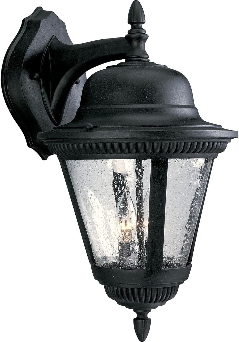 Progress Lighting P5864-31 2-Light Cast Wall Lantern with Clear Seeded Glass, Textured Black