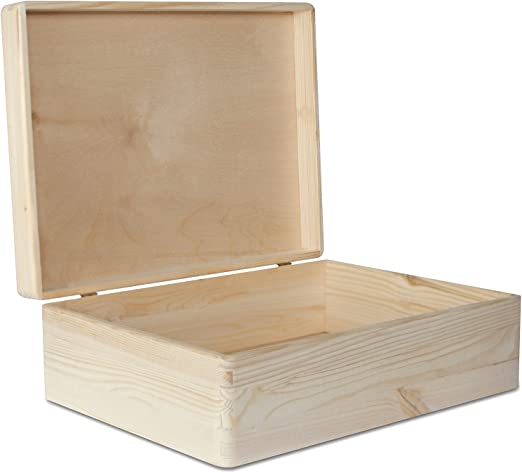Creative Deco XL Grande Caja Madera para Decorar con Tapa | 40 x 30 x 14 cm (+/-1cm) | con Tapa Cofre para Decorar | para Almacenar Documentos, Objetos de Valor, Herramientas: Amazon.es: Hogar