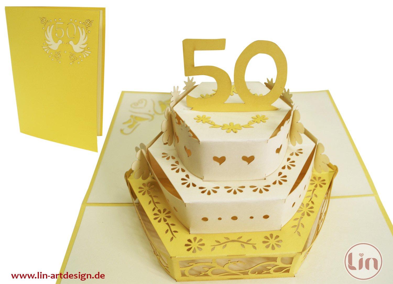LIN Pop Up carta matrimonio carte, inviti da matrimonio, 3d carta anniversario, 3d auguri 50. matrimonio, 50. hochzeitj ubiliaeum matrimonio congratulazioni, torte LIN ArtDesign 212