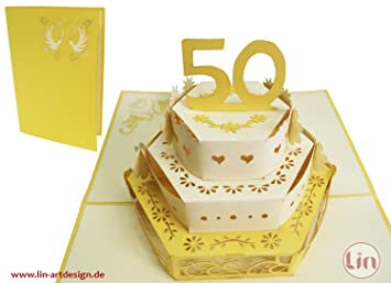 LIN Pop Up 3D Greeting Card for a 50th Wedding Anniversary, Wedding cake, (#212)