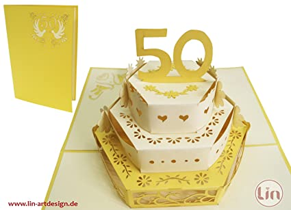 Amazon.com : LIN Pop Up 3D Greeting Card for a 50th Wedding ...