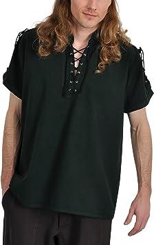 Elbenwald Camisa de Pirata Medieval Camiseta de Manga Corta Cuello Alto de Cordones algodón Verde, Hombre, Verde, XXL: Amazon.es: Deportes y aire libre