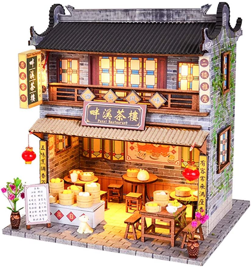 WYD DIY Chinese DIY Doll House Ancient Architecture Handmade Mini Wooden House Miniature Dollhouse Furniture Set Children Toys New Year Birthday Wedding Gift (Panxi Tea House)