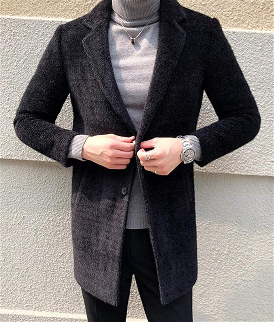 Macondoo Mens Plaid Outer Thick Woollens Two Button Tailored Collar Pea Coat